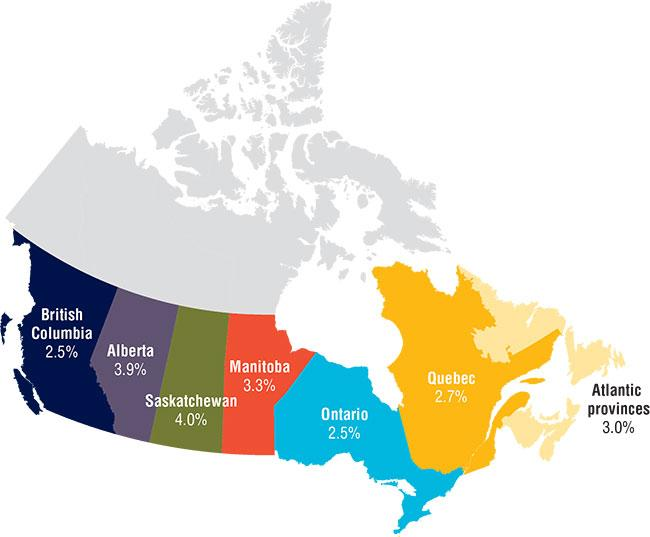 Map Western Canada Provinces Salary growth uneven across the country; western provinces see
